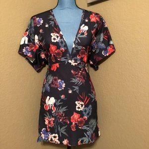 Deep V Neck Floral Dress